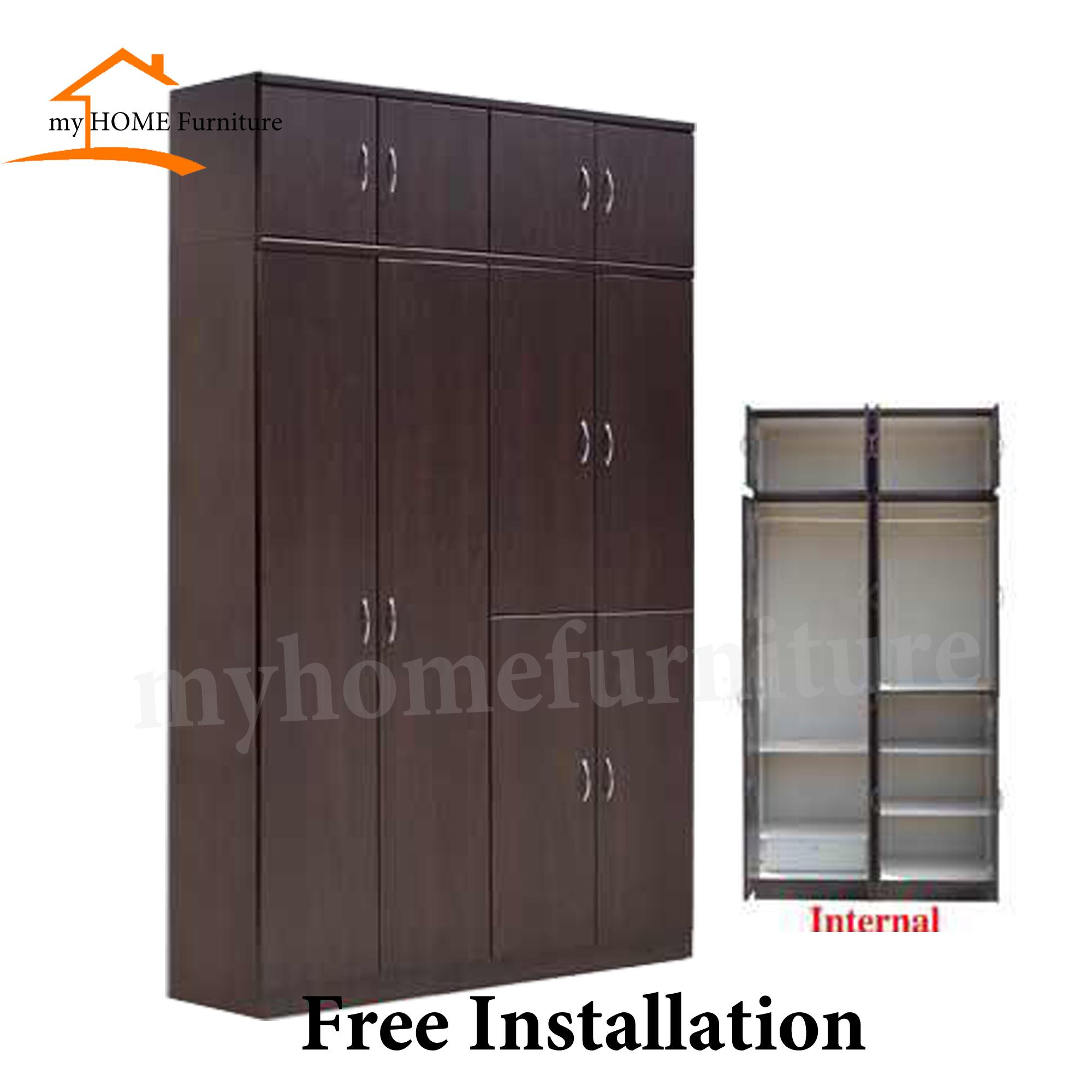 10 Doors Solid PlyWood Wardrobe (Free Delivery and Installation) (CHERRY COLOUR)
