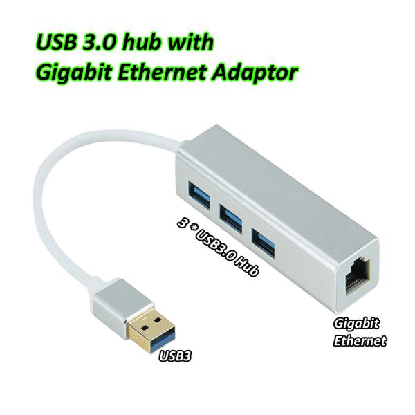 USB3.0 Hub with Gigabit Ethernet Adaptor