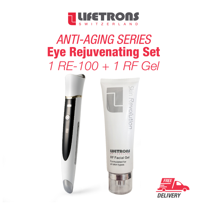 Buy Lifetrons Eye Rejuvenating Set (RE-100 + RF Gel) - lift eye muscles / lighten black circles / relieve eye bags / facilitate essence absorption and massage eyes / delivery of radio frequency heating energy into the skins deepest layers (SG) Singapore
