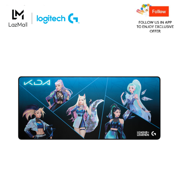 Logitech G840 K/DA XL Cloth Gaming Mouse Pad - 0.12 in Thin, Stable Rubber Base, Official League of Legends Gaming Gear KDA