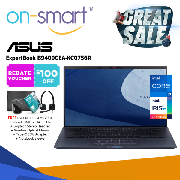 【Next Day Delivery】ASUS ExpertBook B9 B9400CEA-KC0756R | Intel Core i7 1165G7 Processor | 16GB RAM | 1TB PCIe SSD | Intel Iris Xe Graphics | Windows 10 Pro | 3 Years Onsite Warranty | New Business Laptop Computer