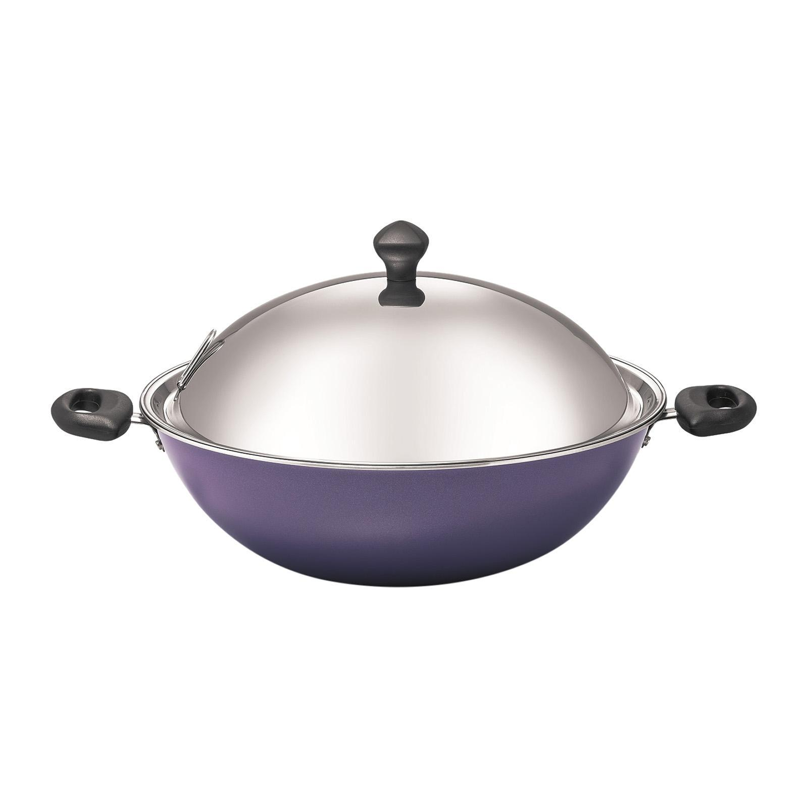 Meyer Purple 34 Cm Covered Chinese Wok With Lid