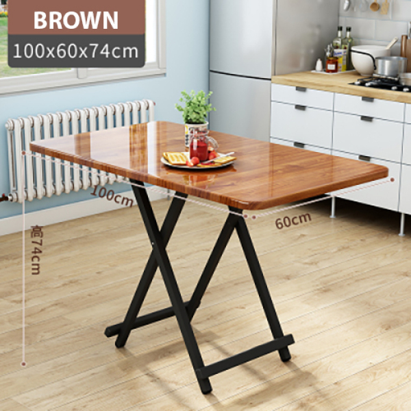 Colorful Rectangle Folding Portable Foldable Table - Brown 60(W) x 100(L) x 74(H)cm