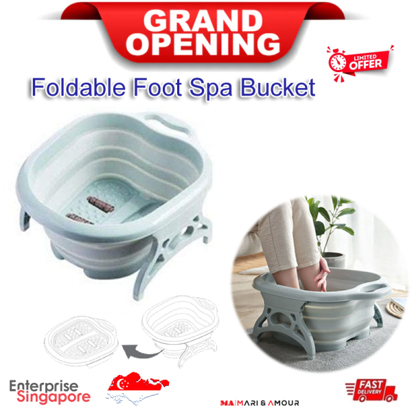 Buy Foldable Foot Spa for Callus Remover and Foot Care, Collapsible Foot Bath Bucket, Foot Massager and SPA Bucket, Foot Soak Tub, Bath Soak Basin for Foot Soaking with Massage Rollers as Pedicure Kit, Foot Reflexology Tool with Acupressure points for Health Singapore