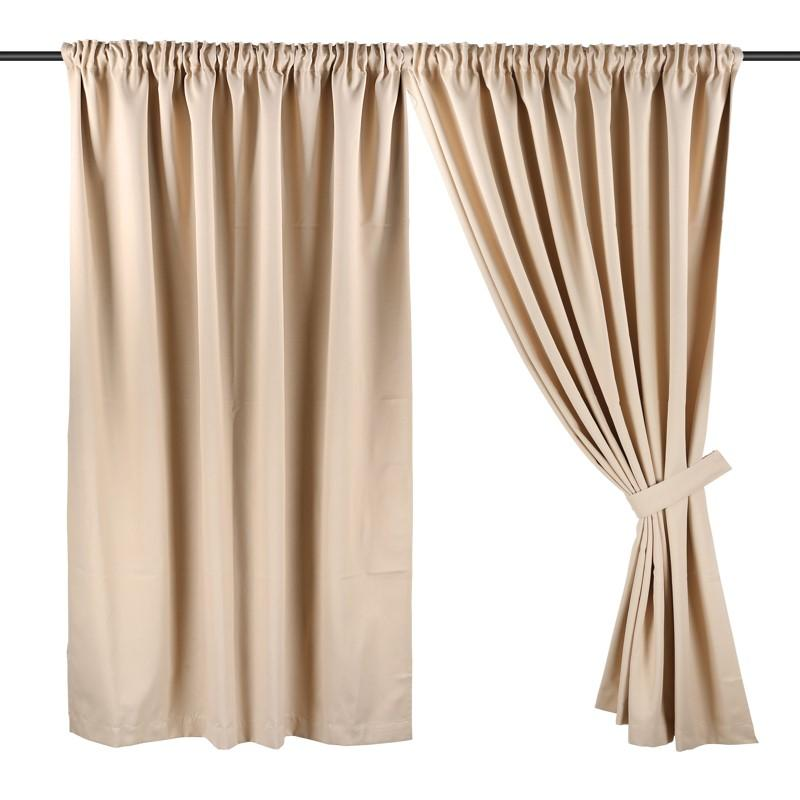 Wide Width, Full Length ( 294cm W x 228cm H) Ready Made Curtain, Dim Out, Beige, 3 Ways Hanging Options