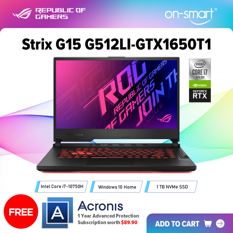【Next Day Delivery】ASUS  ROG Strix G15 G512LI-GTX1650T1 | Intel Core i7-10750H Processor | 8GB RAM | 1TB NVMe SSD | NVIDIA GeForce GTX 1650 Ti 4GB GDDR6 | Windows 10 Home | 2 Years International Warranty | FREE Acronis Subscription