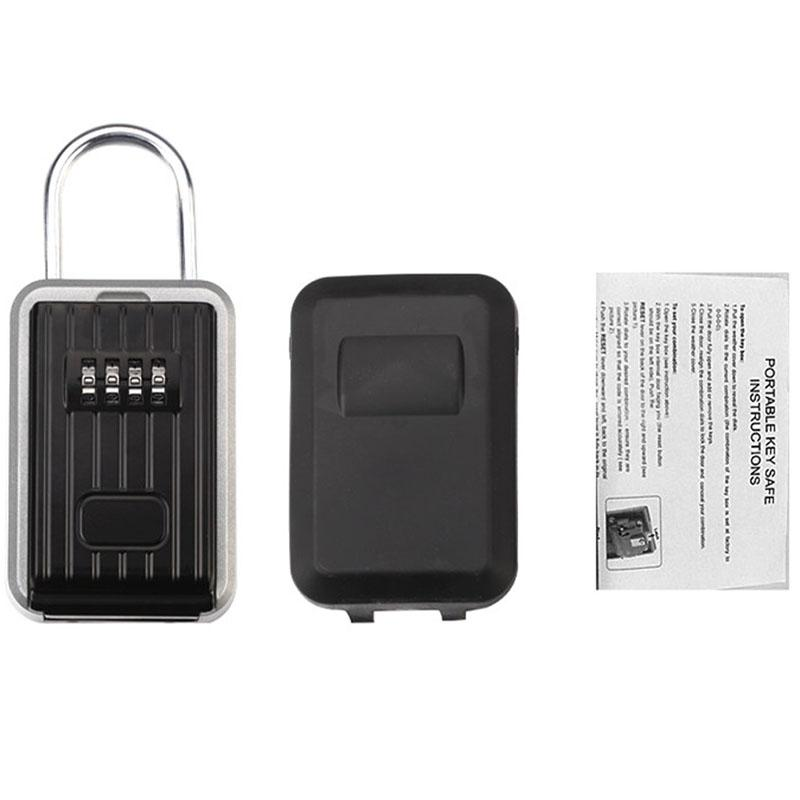 Wall-Mounted Outdoor Key Storage Lock Box 4-Digit Combination Password Key Safe Resettable Password