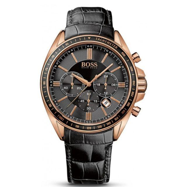 Hugo Boss Mens Watch Black Genuine Leather Strap 44mm Hb1513092 By Le Montres.