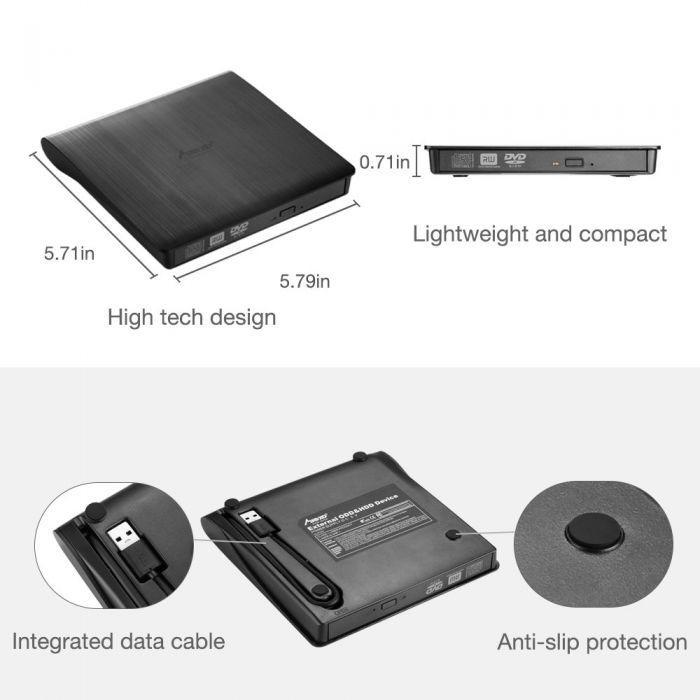 Super Slim Portable USB 3.0 Interface Dual Layer Drive Pop-up Mobile External DVD Drive DVD-RW for PC and for Laptop