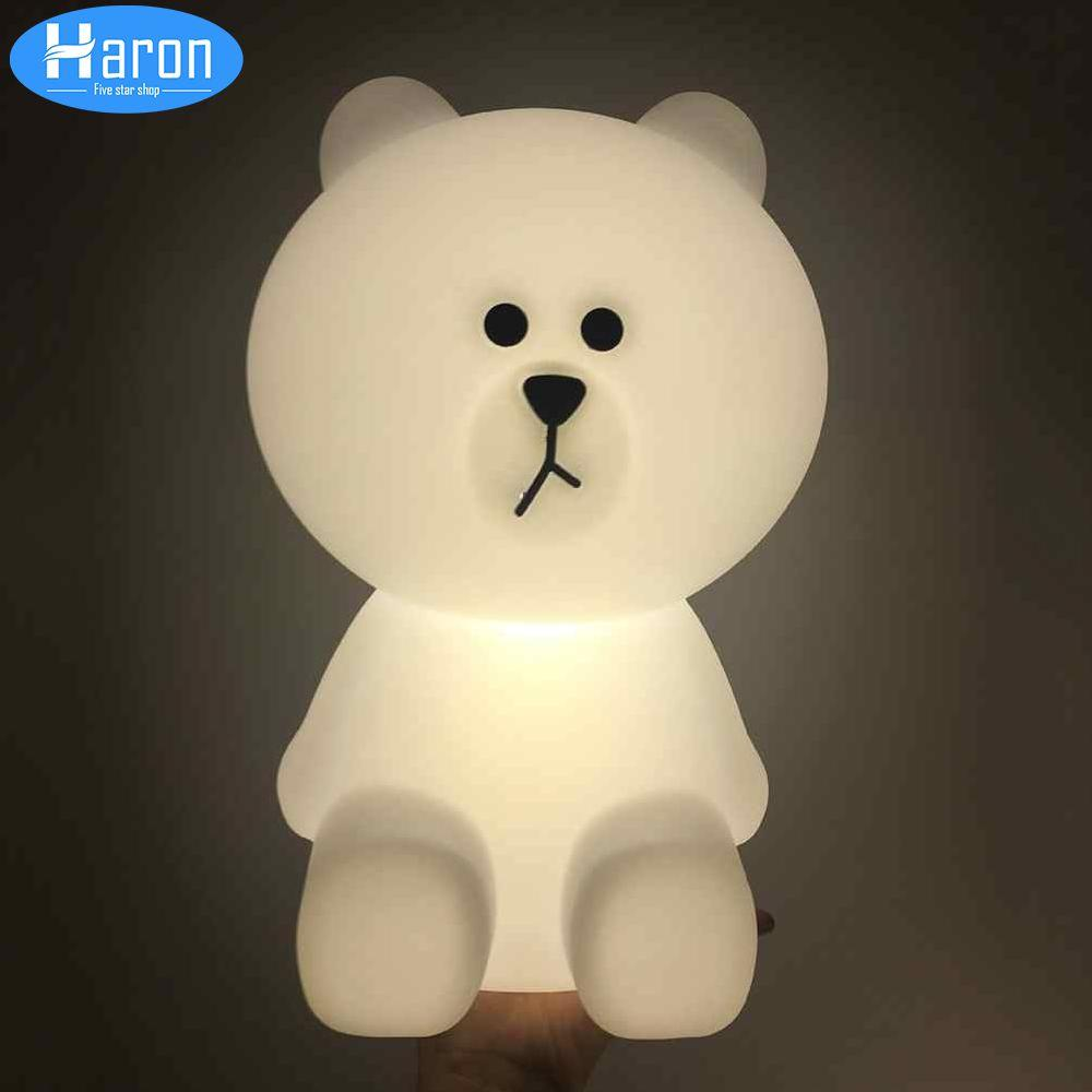 Decorative Cartoon Bear Led Night Light Silicone White Bedside Night Lamp For Children Baby Christmas Birthday Gift Led Lamps
