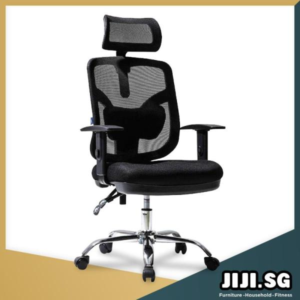 (JIJI SG) Office Chair Executive Chair Ver 2 Adjustable ArmRest (Free Installation) - Supreme ★Office Furniture ★Grand ★Ergonomic ★Quality / Free 6 Months Warranty (SG) Singapore