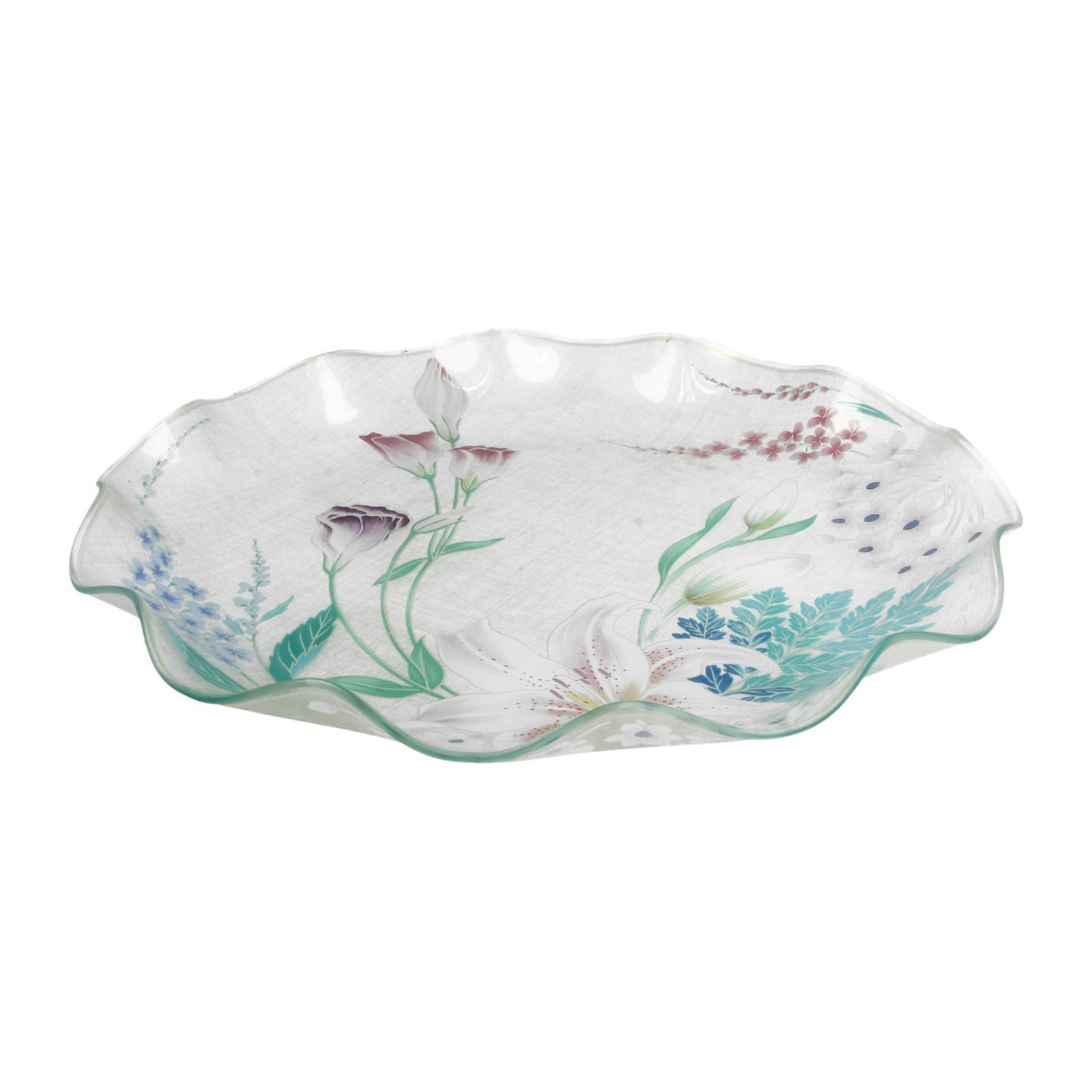 Soga Wavy Glass Plate 11 (Floral)