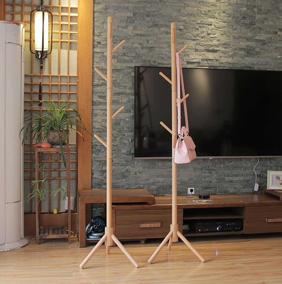 Wooden Clothes Hat Rack Stand Hanger / 8 Arms / 3 Legged Support