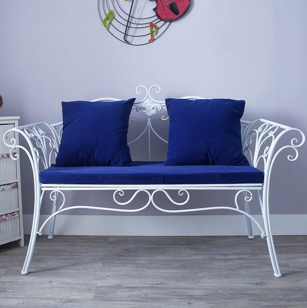 Stylish Wrought Iron Cushion Outdoor Bench (White)