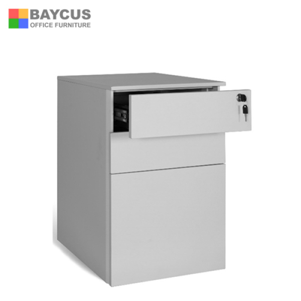 Baycus Steel Mobile Pedestal two Drawers and one filing cabinet with pencil tray