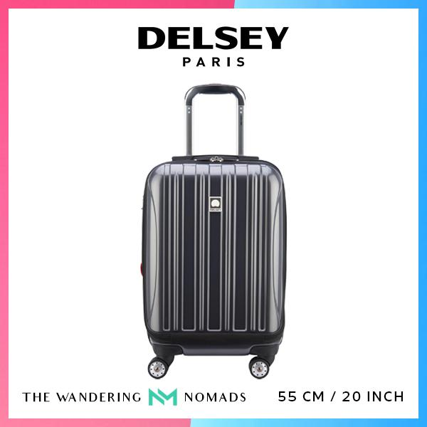 Delsey Helium Aero 55cm 4 Double Wheels Expandable Trolley Case Luggage 20inch - Metallic Grey