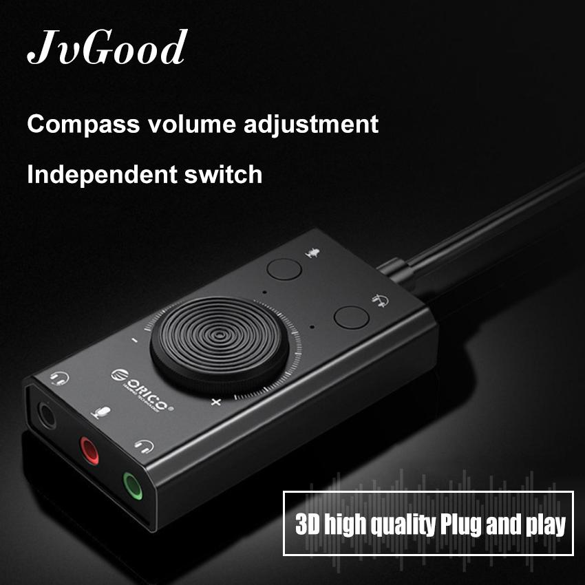 JvGood Sound Card External USB Audio Card Adapter USB Multifunction  Surround Gaming Sound Card to Jack 3 5mm Earphone Microphone for Laptop  Phone PS4