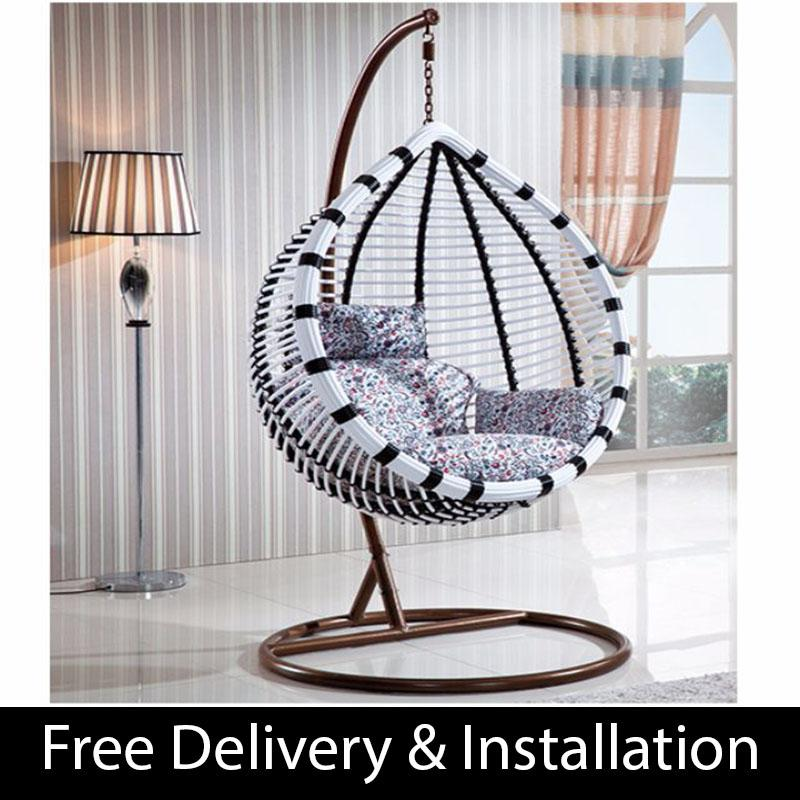 Home Factor Swing Chair with cushions S619 Black & White(Outdoor Seating / Swing Chair)  (Free Delivery & Installation) - Balcony Swing chair/Relax Chair/ Lounge Chair/Outdoor Furniture (SG)