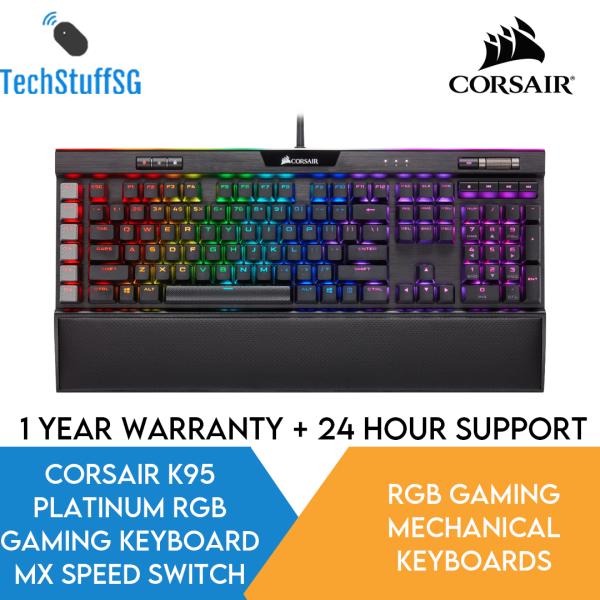 CORSAIR K95 RGB PLATINUM Mechanical Gaming Keyboard - 6x Programmable Macro Keys - USB Passthrough & Media Controls - Fastest Cherry MX Speed - RGB LED Backlit - Black Finish Singapore