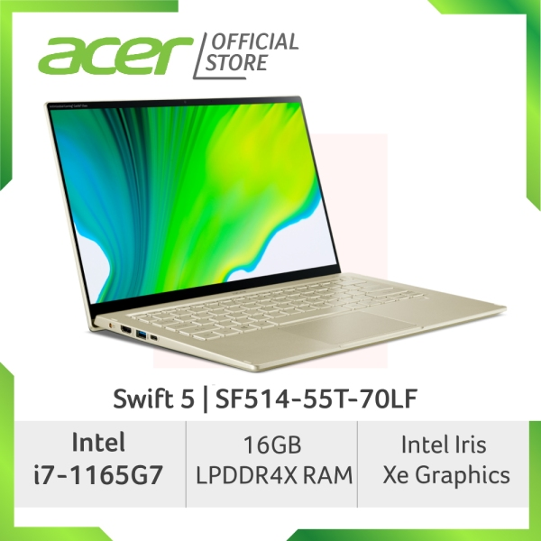 Acer Swift 5 SF514-55T-70LF/SF514-55T-71SL (Gold/Green) laptop with LATEST 11th Gen Intel i7-1165G7 processor