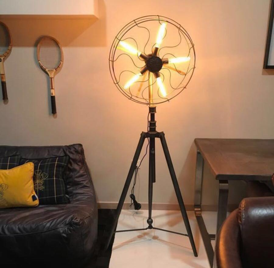 Industrial Vintage Retro Fan Iron Tripod Floor Lamp