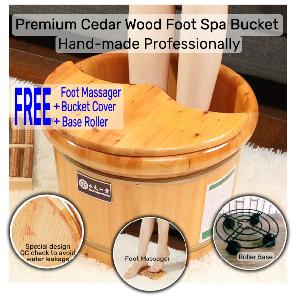 Buy Premium Grade Cedar Wood Foot Spa Bucket 🌱 with wooden foot massager 🌱bucket cover 🌱and base roller 🌱 - 26cm Tall Singapore