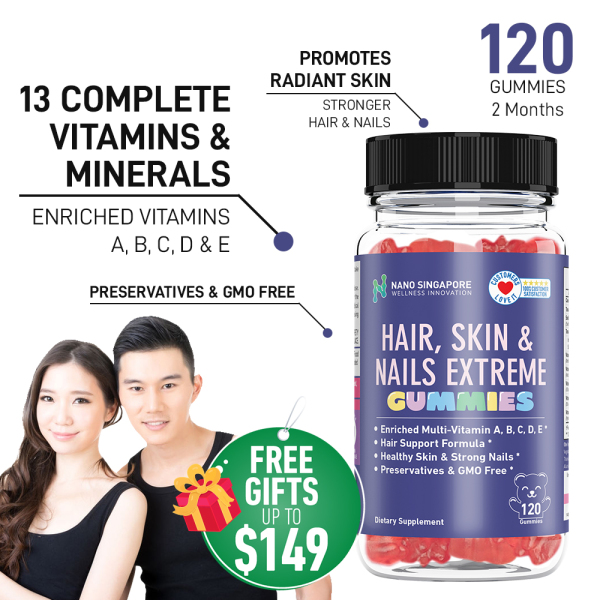 Buy [120 Gummies 2 Mths] Hair Skin and Nails Extreme GUMMIES enriched Multi-Vitamin A B C D E ☆ for Kids | Free Shipping Singapore