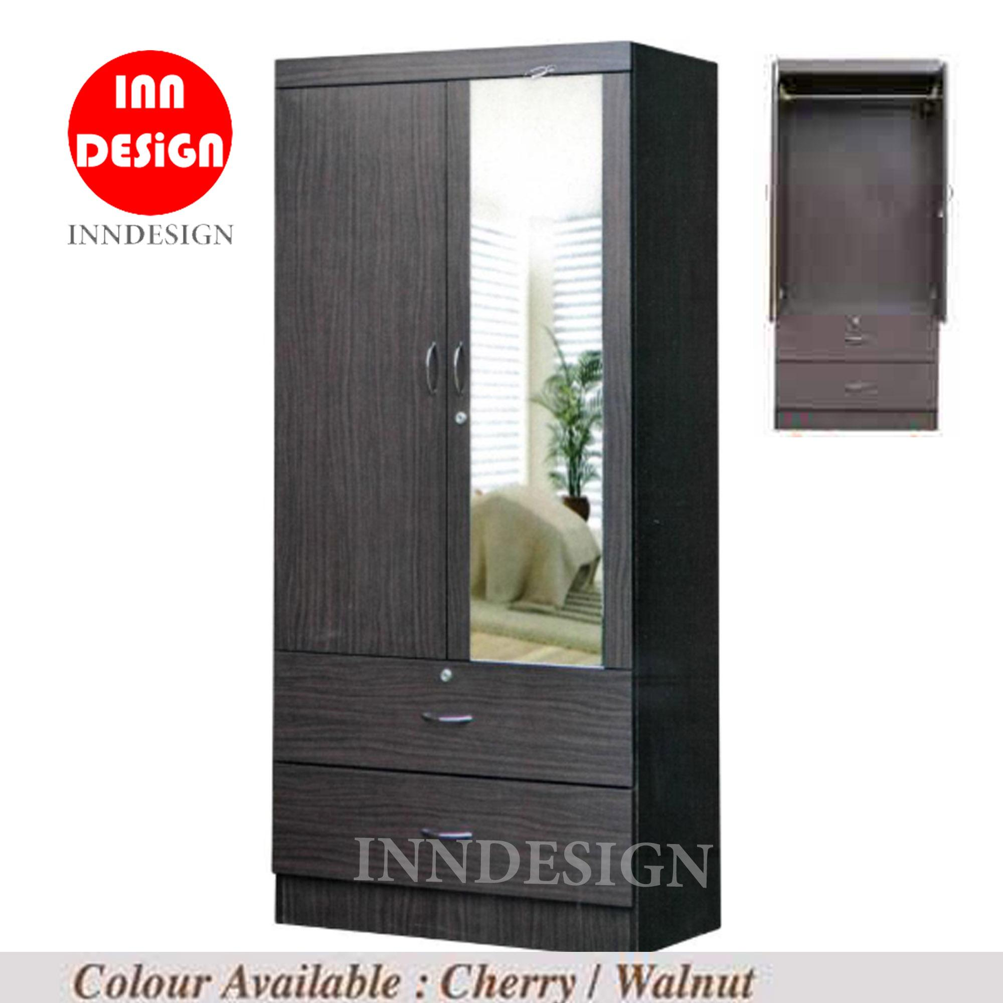 [NEXT DAY DELIVERY/FREE INSTALLATION] Jenny II 2 Open Doors Wardrobe with Mirror