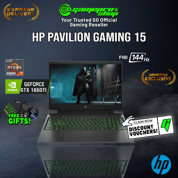 [Express Delivery][Exclusive] HP Pavilion Gaming 15-ec1062AX Gaming Laptop (Ryzen 7 4800H/8GB/512GB SSD/GTX1650Ti 4GB /15.6FHD 144Hz /W10) (2Y)