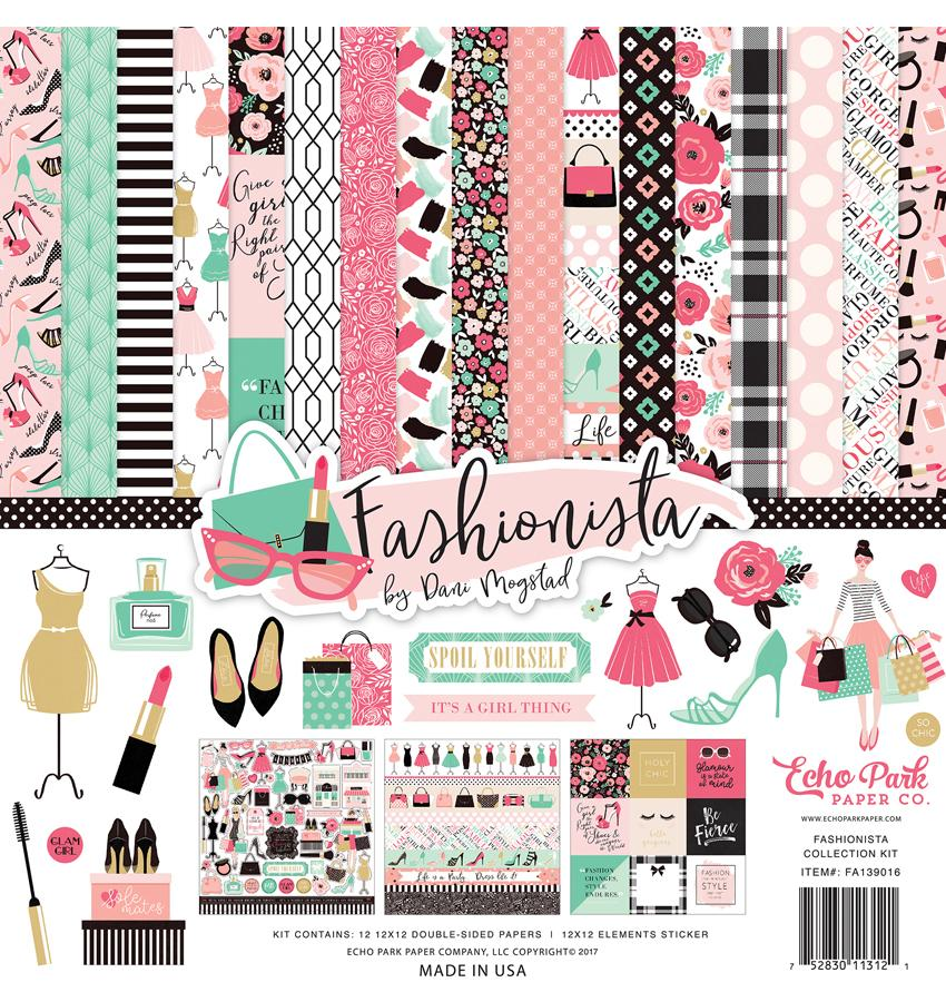 Fashionista Scrapbooking Collection Kit, 12 X 12 Paper And Sticker Sheet By Craftforher.