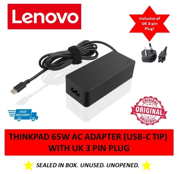(BRAND NEW) Lenovo 65W AC Power Adapter (Type USB C tip) Laptop Charger (MFG: Apr, 2020)