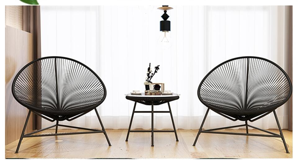 Modern Weave Pear-Shaped Egg Chair Table Set Balcony Bistro  Free shipping Free Installation