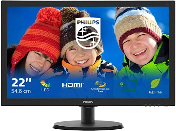 Philips LED Full HD (1920 x 1080  60 Hz)  22inch LED Monitor with HDMI port (free HDMI Cable)
