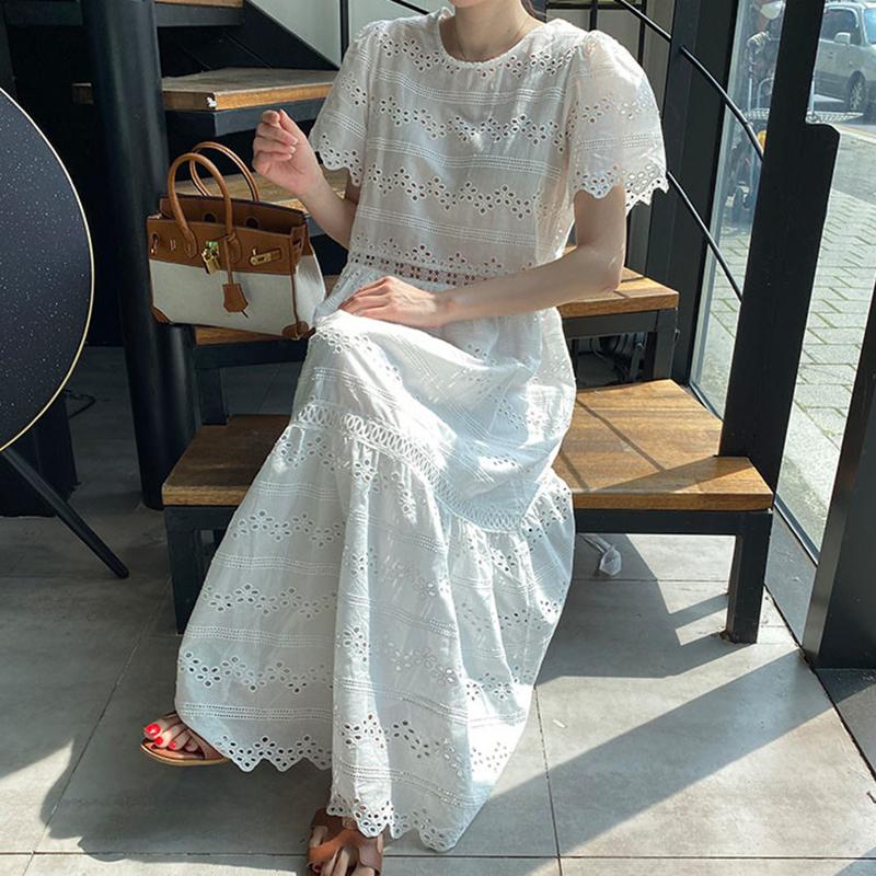 Hàn Quốc Chic Trang Nhã Phong Cách Retro Cổ Tròn Dáng Suông Rộng Nặng Xuyên Thấu Bông Hoa Lớn-Loại Ngắn Tay Đầm Váy Dài Nữ