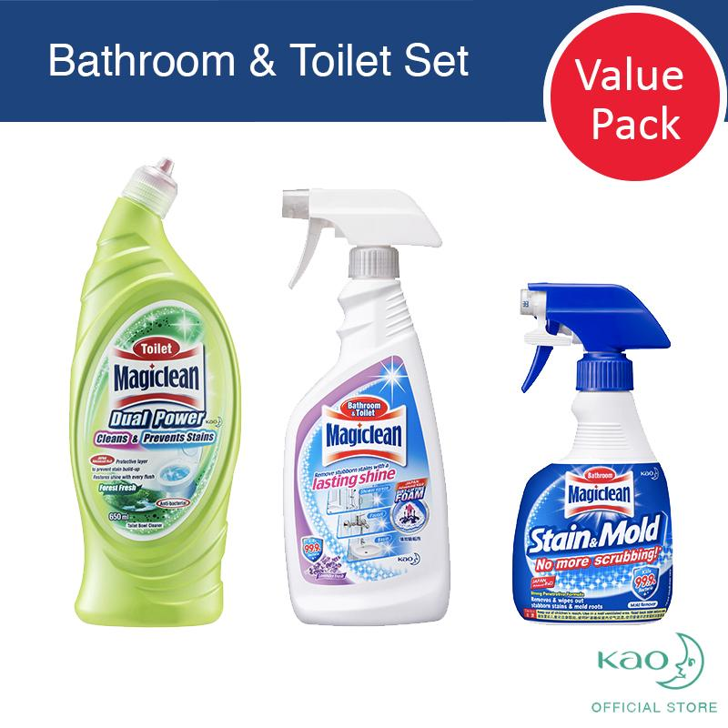 Magiclean 3 Step Bathroom&toilet Cleaner (1 Stain & Mold Trigger + 1 Bathroom&toilet Trigger + 1 Toilet Dual Power Forest) By Kao Homecare.