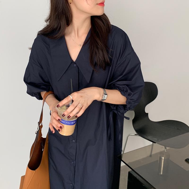 Hàn Quốc Chic Kiểu Pháp Thích Hợp Quá Khổ Chóp Nhọn Cổ Áo Dễ Phối Áo Váy Tay Áo 7 Phân Dây Rút Dáng Suông Rộng Đầm