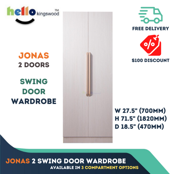 [Kingswood] Jonas 2 | 4 | 6 | 8 Doors Wardrobe, Swing Door, Solid Plywood, 12 Months Warranty Included, 2-8 Doors, Available with 3 Compartment Options