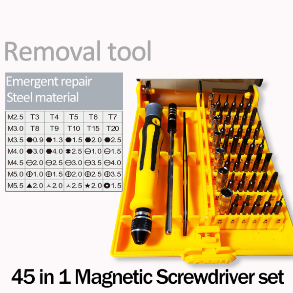 45 in 1 Magnetic Multi-function Screwdriver Set Precision Screw Driver Repair Tools Screwdrivers for Phone PC with Tweezer or Flexible Rod
