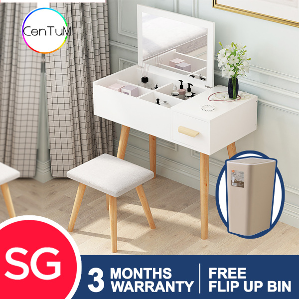QZXL2 Wooden Dressing Table with stool vanity mirror simple classy modern elegant woman makeup organiser HDB Condo house master bedroom dressing room scratch resistant durable white wood [FREE Installation /Immediate Delivery]
