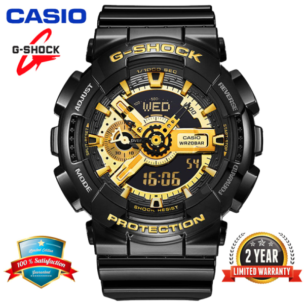 Original Casio G Shock GA110 Men Sport Watch Dual Time Display 200M Water Resistant Shockproof and Waterproof World Time LED Auto Light Sports Wrist Watches with 2 Year Warranty GA-110GB-1A Black Gold Classic Style (Ready Stock) Malaysia