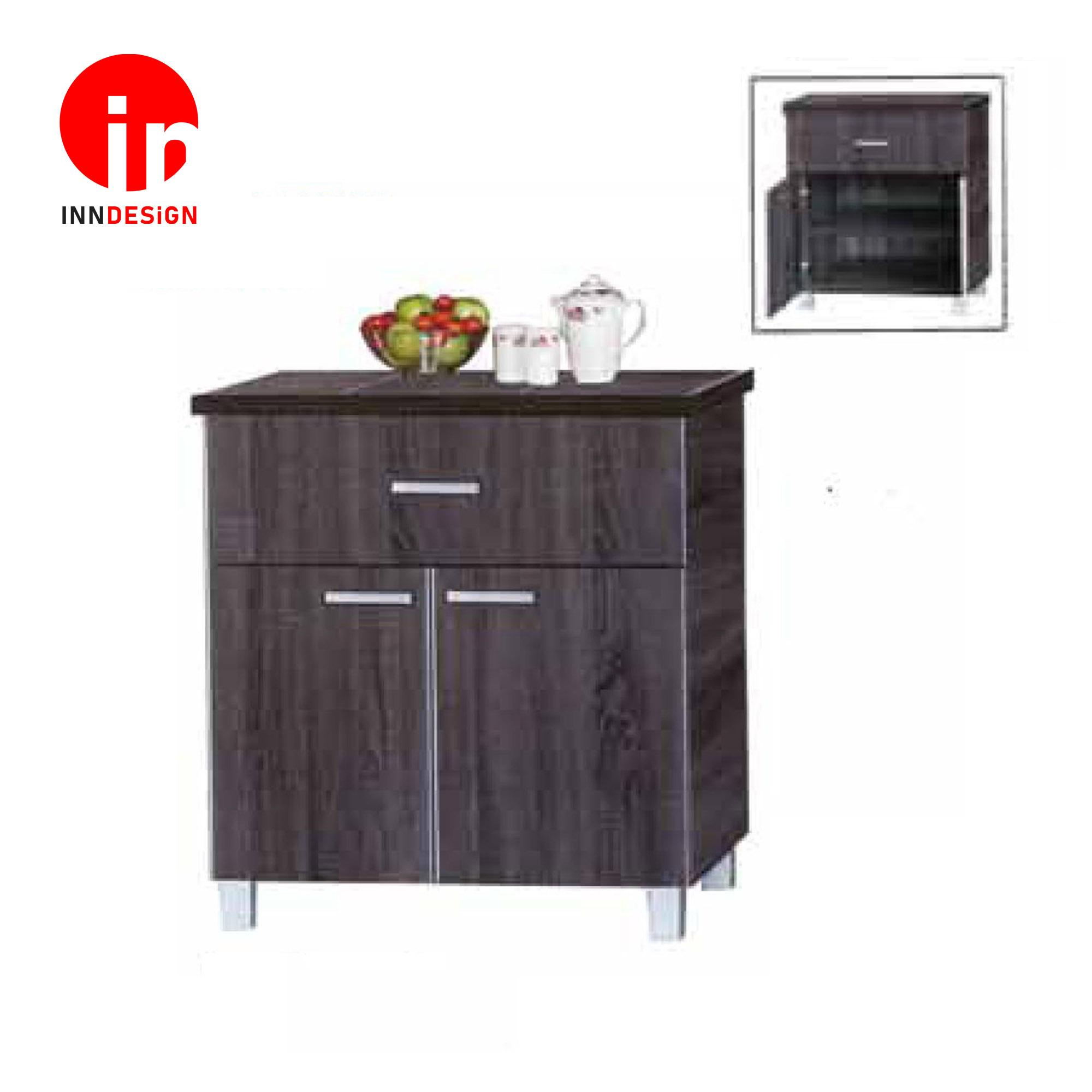 Cassiva 2 Doors With Drawer Kitchen Cabinet (Ceramic Tiles Top) (Free Delivery and Installation) (Walnut)
