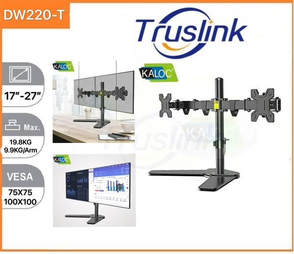 【SG Seller】Truslink Original Kaloc DW220-T Dual Monitor Desk Stand Free Standing Height Adjustable Full Motion Two Arm Monitor Mount for Two 17 to 27 inch LCD Screens with Swivel and Tilt, 9.9KG Per Arm Up Down Rotation Adjustment