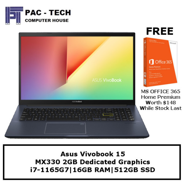 [Free Office Worth $148] Asus Vivobook 15 X513EP | i7-1135G7 | 16GB RAM | 512GB SSD | MX330 | 15.6 FHD | Windows 10 Home
