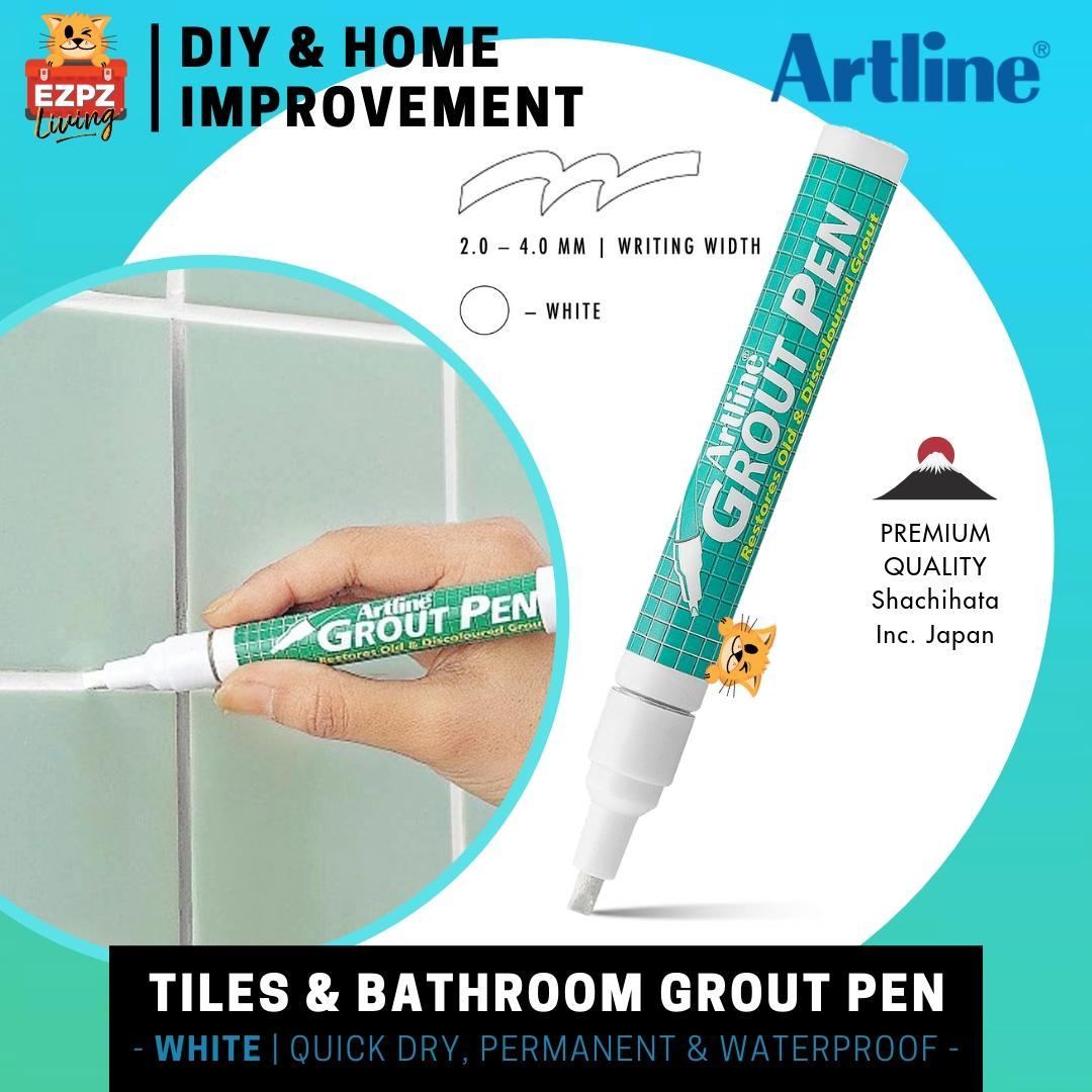 Artline Japan Tile Whitening Grout Marker Pen - White Ink [for Bathroom, Floor Tiles, Kitchen, Garden, Office] By Ezpz Living.