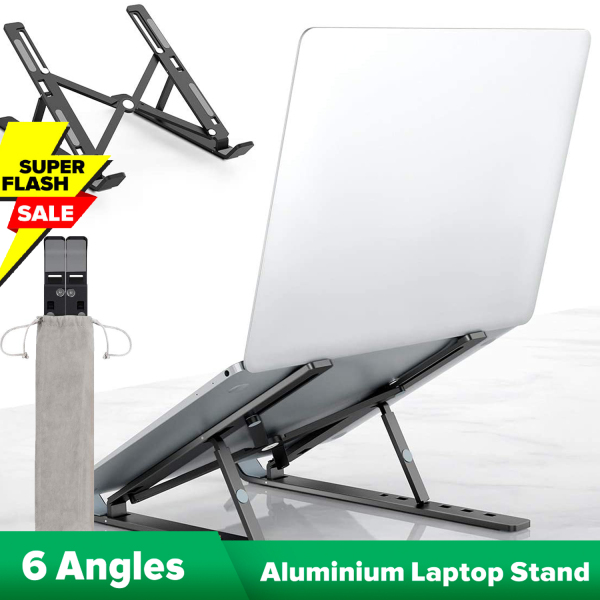 [SG Local Seller] Savfy Foldable Portable Laptop Stand,6 Level Adjustable, Aluminium Alloy, Light Weight, Non-Slip, Air Flow Cooling,Notebook Computer Desktop Holder Riser Bracket