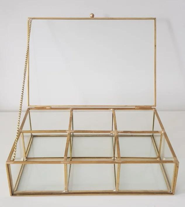 Gold geometric terrarium/ring boxes Drawer with 6 compartment
