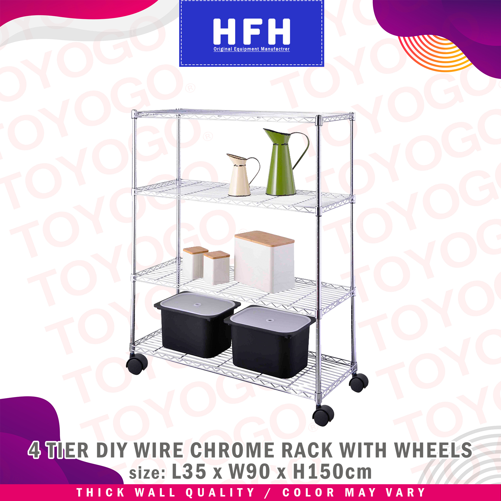 Toyogo DIY Wire Chrome Rack with Wheels (4 Tier)(HFH6857E)