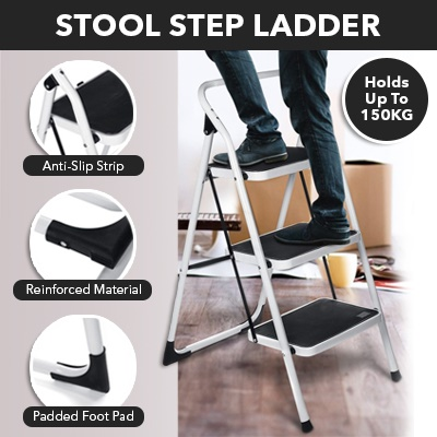 3 STEP STOOL LADDER/ PLATFORM /STEP LADDER/  FOLDABLE/ ANTI-SLIP/ OFFICE/ HOUSEHOLD