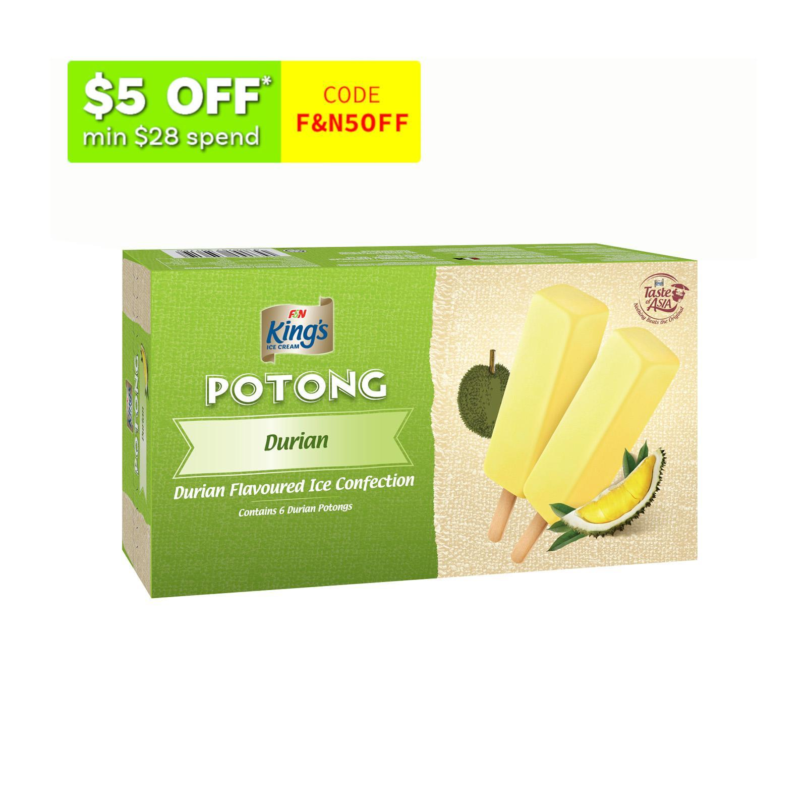 King's Potong Durian Flavoured Ice Confection - Frozen