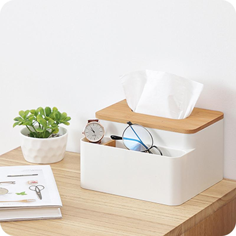 NC Creative Nordic Minimalist Tissue Box Household Multi-functional Storage Living Room Teapoy Table Bamboo Wood Napkin Paper Extraction Box